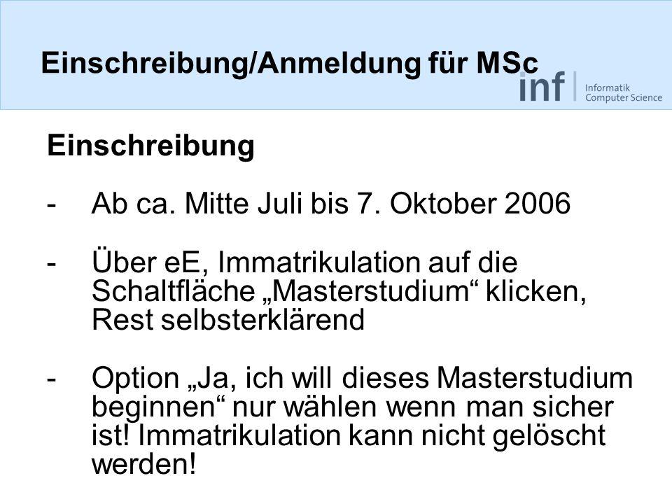 Einschreibung/Anmeldung für MSc