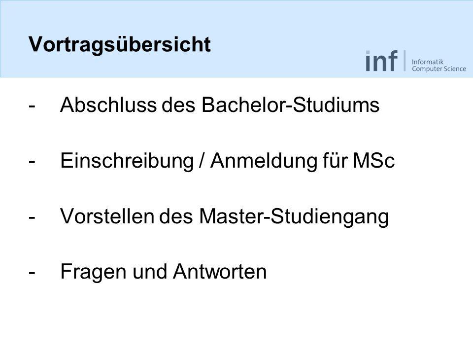 Vortragsübersicht Abschluss des Bachelor-Studiums. Einschreibung / Anmeldung für MSc. Vorstellen des Master-Studiengang.
