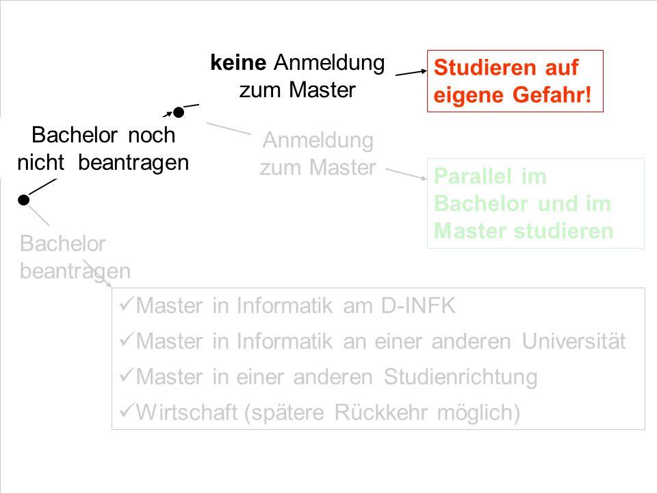 keine Anmeldung zum Master Studieren auf eigene Gefahr!