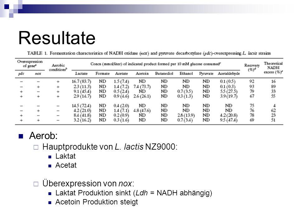 Resultate Aerob: Hauptprodukte von L. lactis NZ9000: