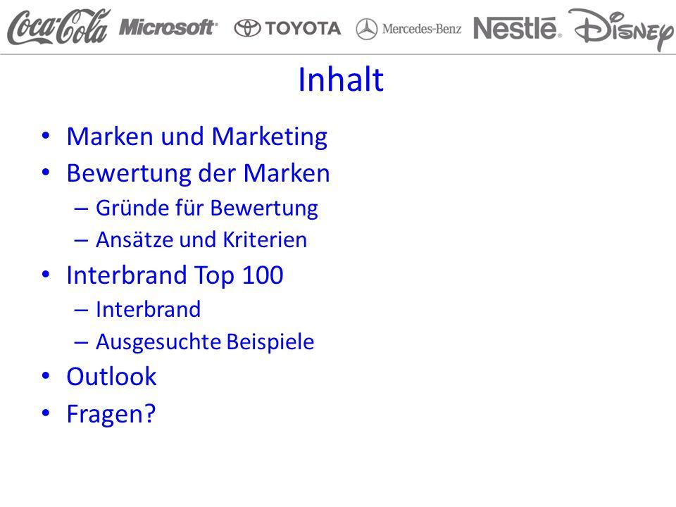 Inhalt Marken und Marketing Bewertung der Marken Interbrand Top 100