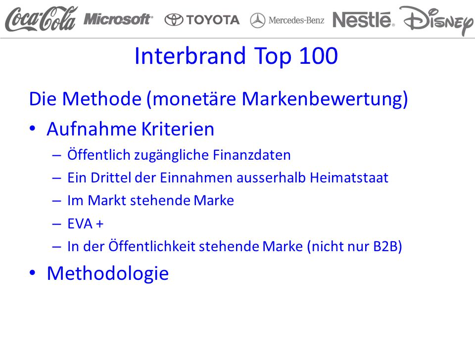 Interbrand Top 100 Die Methode (monetäre Markenbewertung)