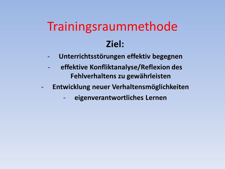 Trainingsraummethode