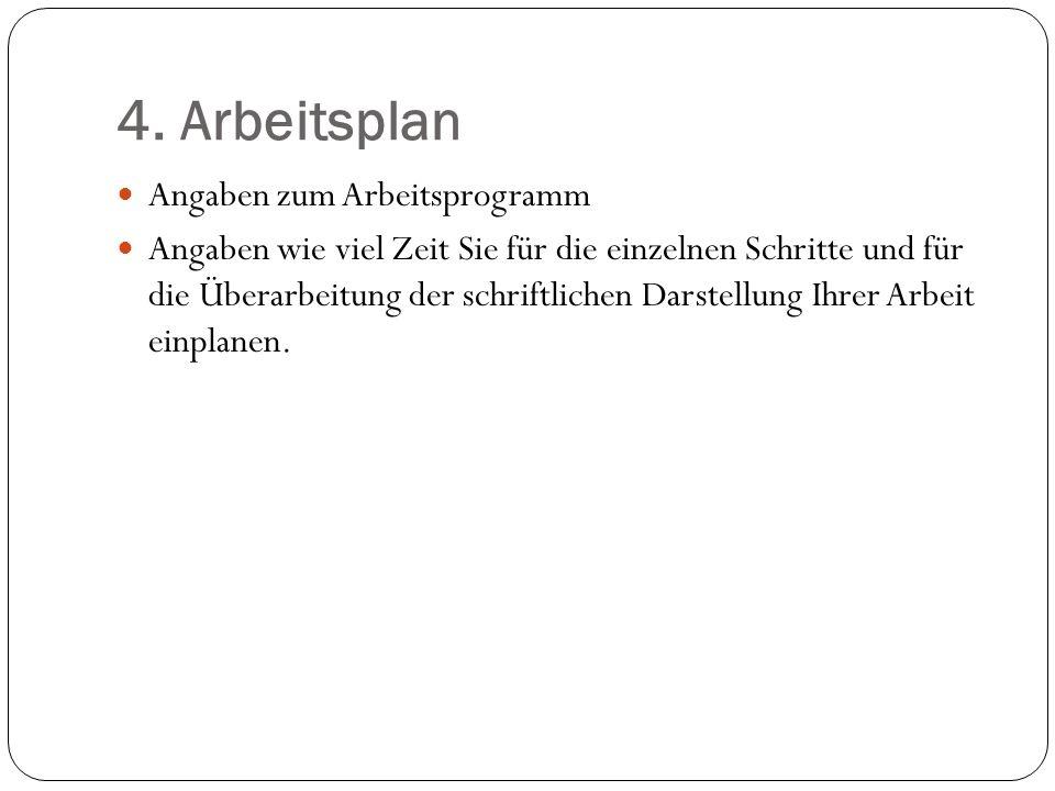 4. Arbeitsplan Angaben zum Arbeitsprogramm
