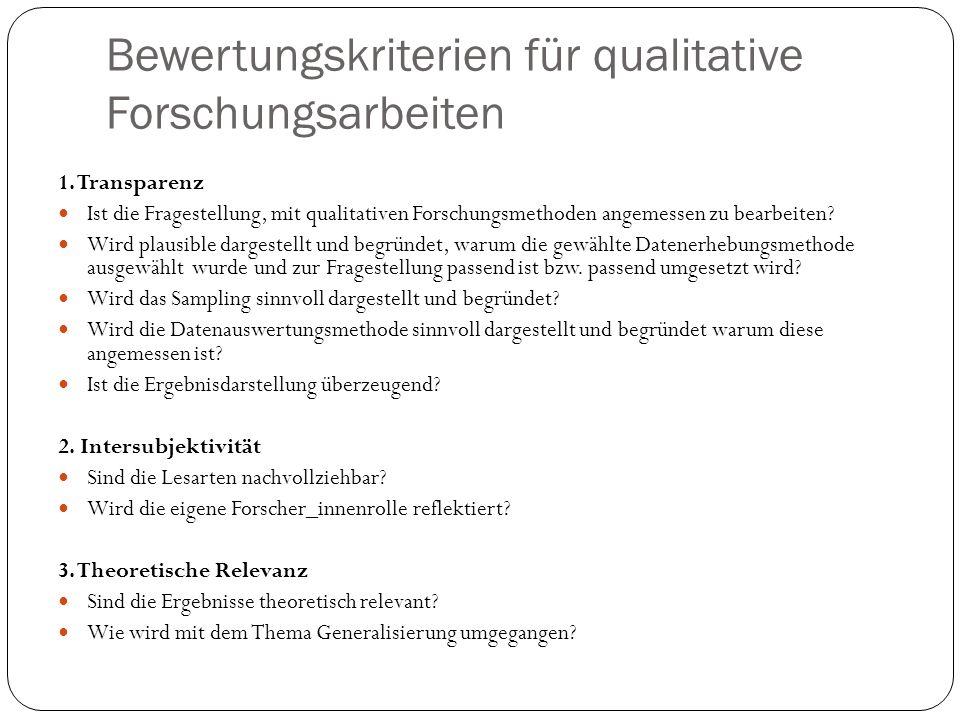 Bewertungskriterien für qualitative Forschungsarbeiten