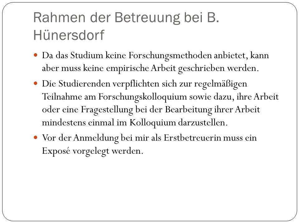 Rahmen der Betreuung bei B. Hünersdorf