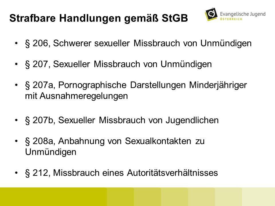 Strafbare Handlungen gemäß StGB