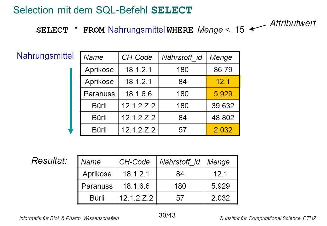Selection mit dem SQL-Befehl SELECT