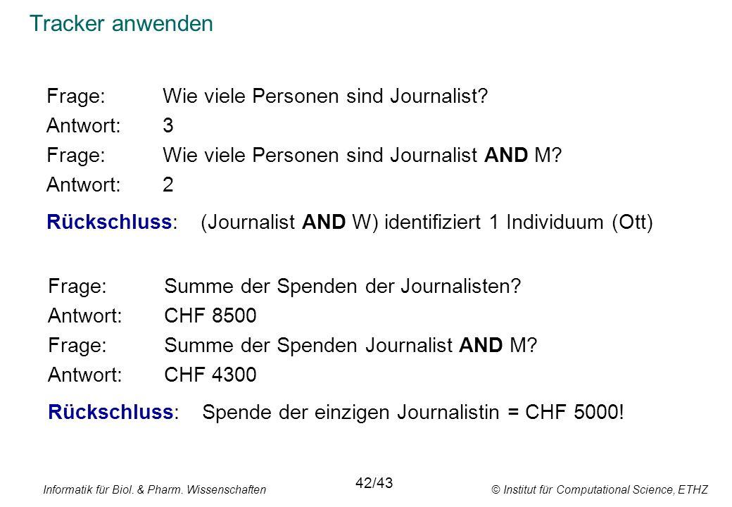Tracker anwenden Frage: Wie viele Personen sind Journalist Antwort: 3