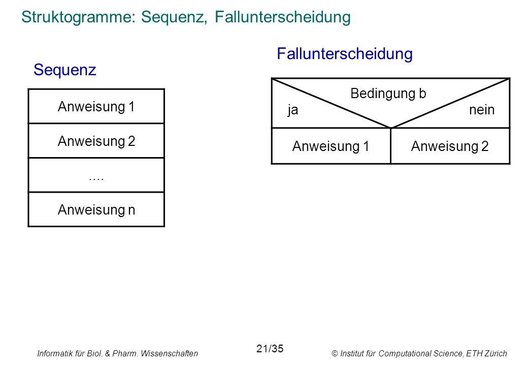 Struktogramme: Sequenz, Fallunterscheidung