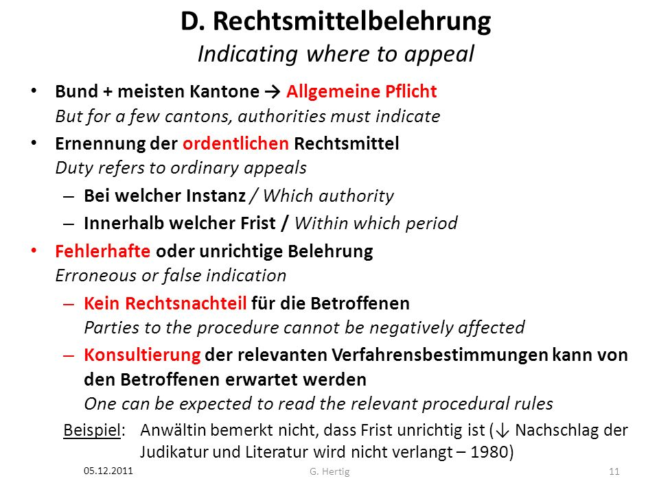 D. Rechtsmittelbelehrung Indicating where to appeal