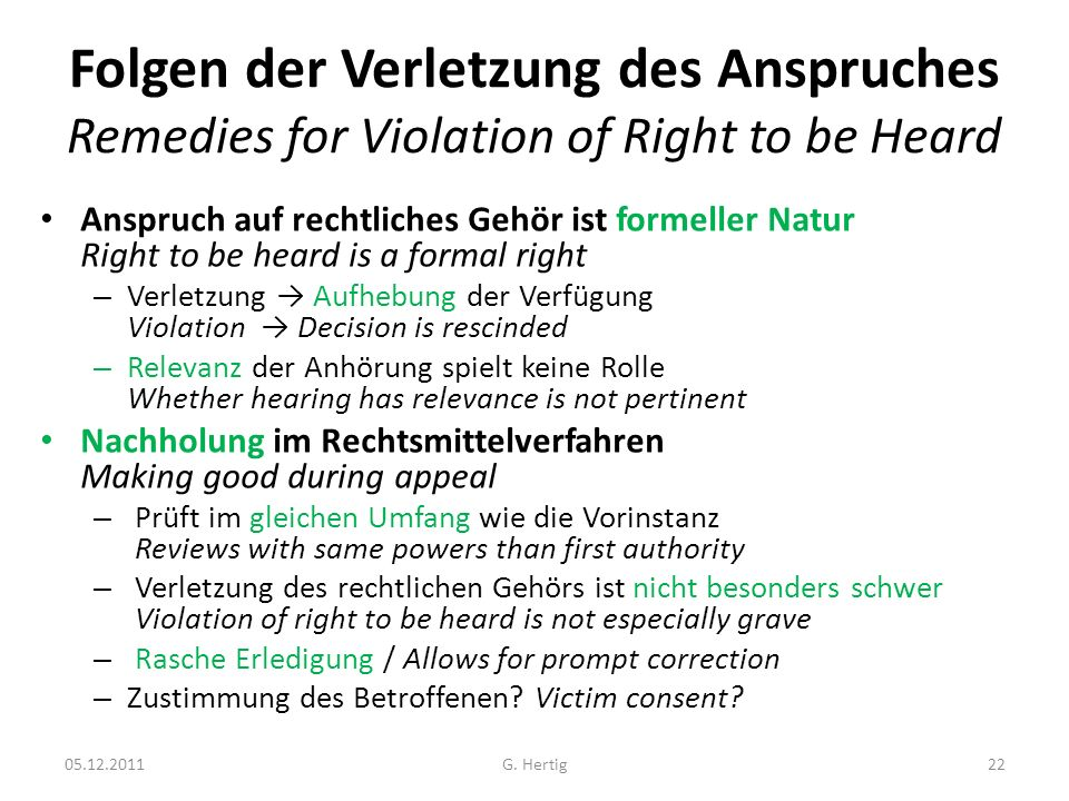 Folgen der Verletzung des Anspruches Remedies for Violation of Right to be Heard