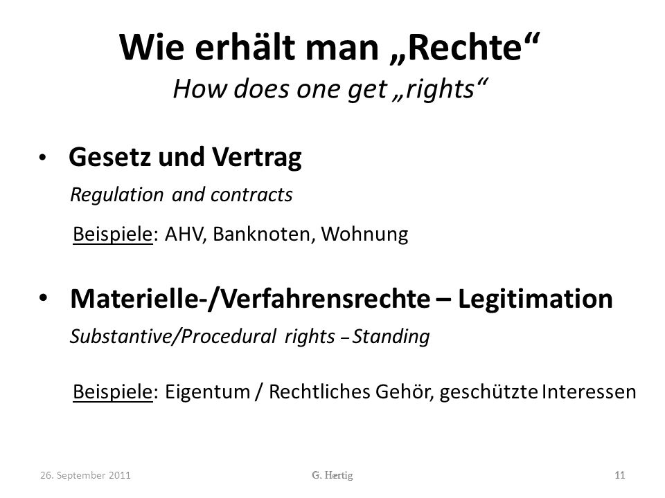 "Wie erhält man ""Rechte How does one get ""rights"