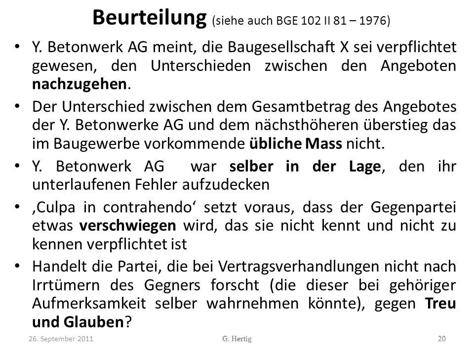 Beurteilung (siehe auch BGE 102 II 81 – 1976)