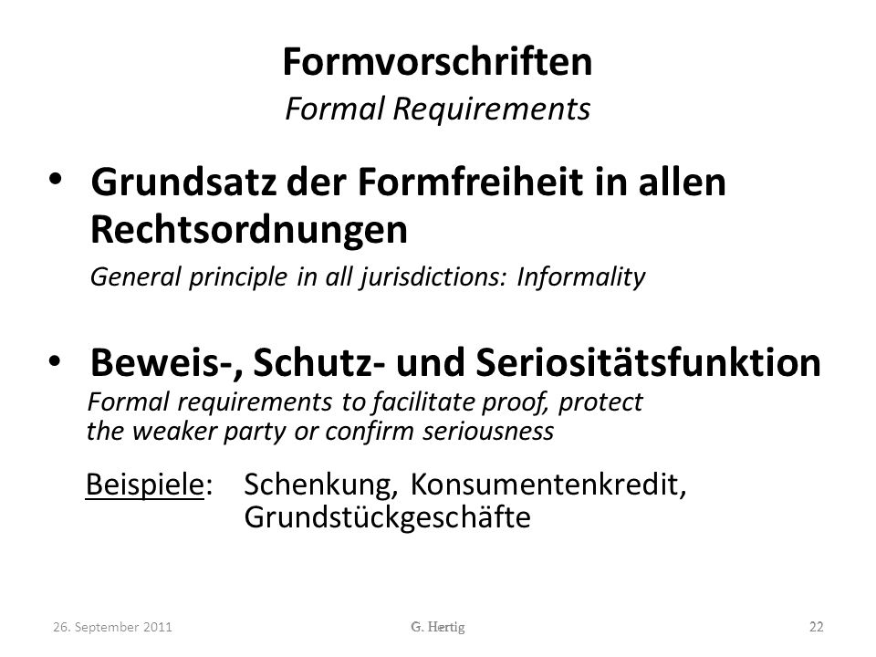 Formvorschriften Formal Requirements