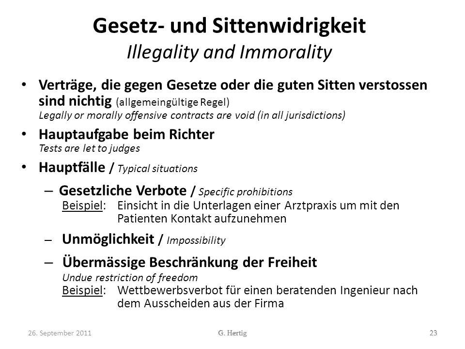 Gesetz- und Sittenwidrigkeit Illegality and Immorality