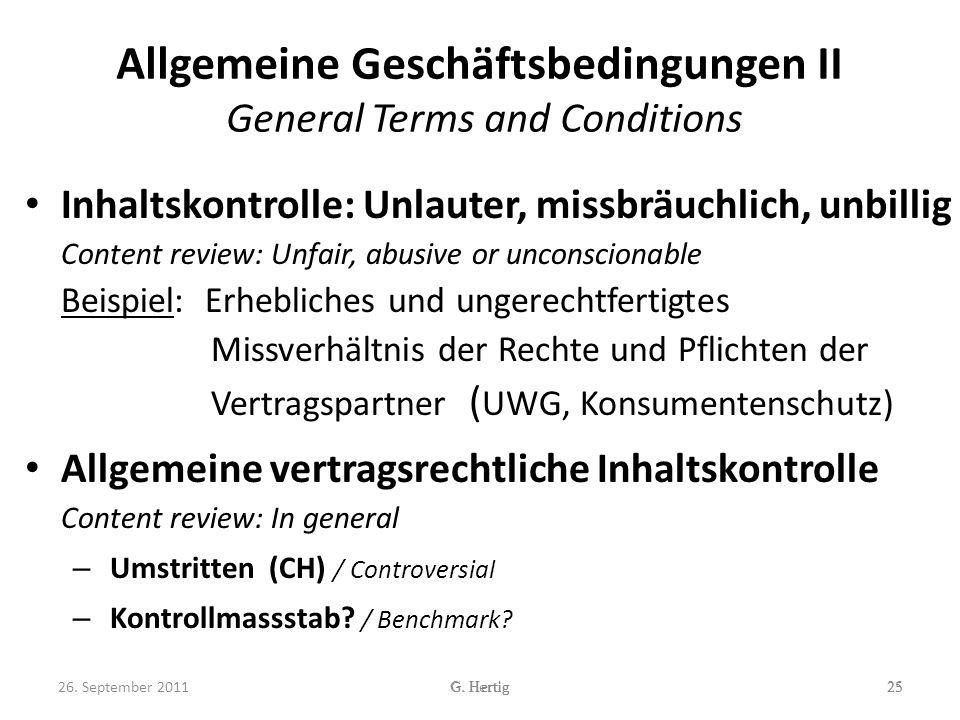 Allgemeine Geschäftsbedingungen II General Terms and Conditions