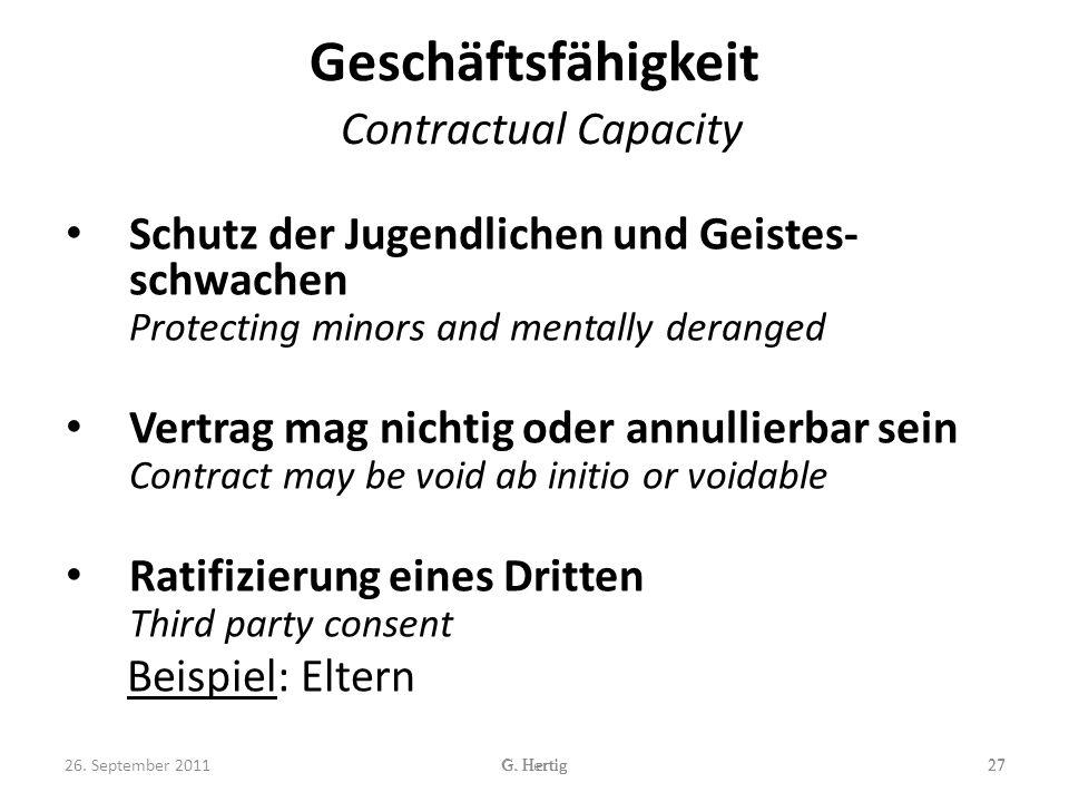 Geschäftsfähigkeit Contractual Capacity