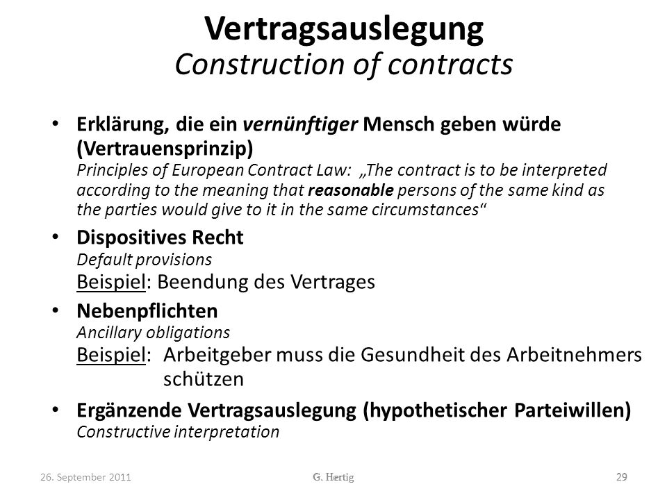 Vertragsauslegung Construction of contracts