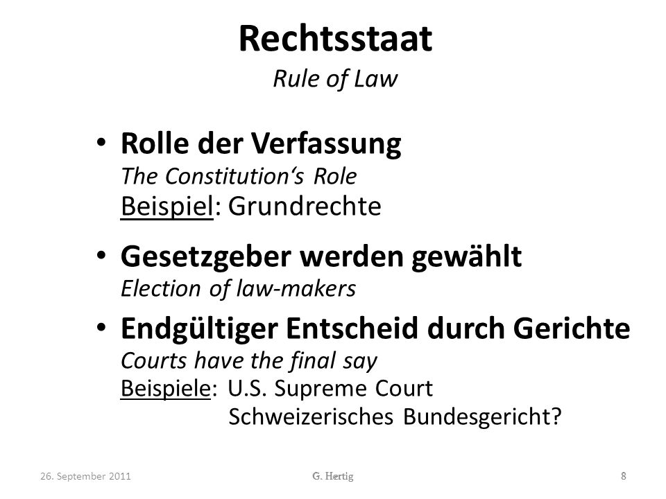 Rechtsstaat Rule of Law