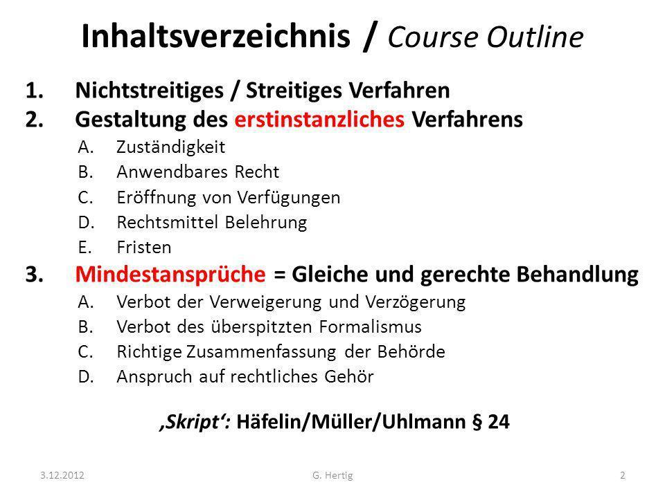 Inhaltsverzeichnis / Course Outline