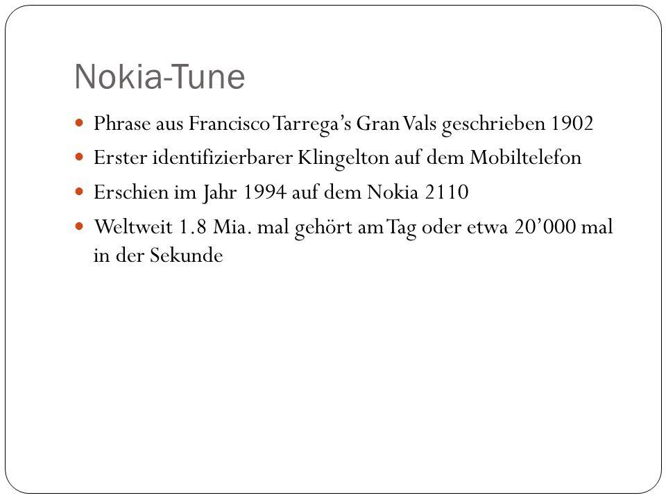Nokia-Tune Phrase aus Francisco Tarrega's Gran Vals geschrieben 1902
