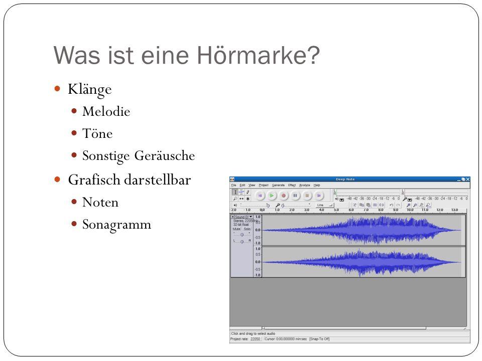 Was ist eine Hörmarke Klänge Grafisch darstellbar Melodie Töne