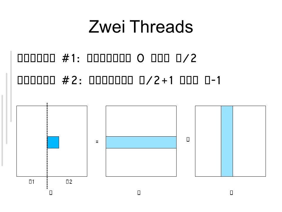 Zwei Threads Thread #1: Spalten 0 bis n/2 Thread #2: Spalten n/2+1 bis n-1 = x. T1 T2.