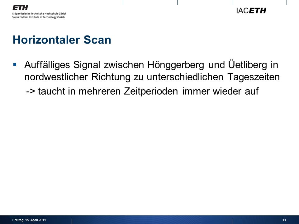 Horizontaler Scan Auffälliges Signal zwischen Hönggerberg und Üetliberg in nordwestlicher Richtung zu unterschiedlichen Tageszeiten.