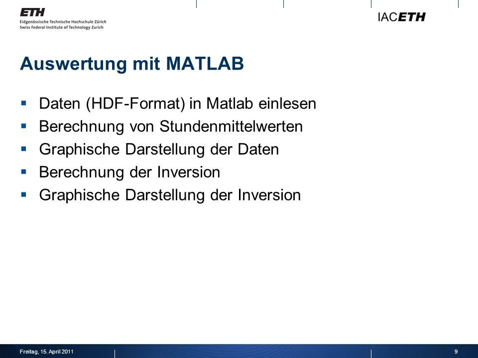 Auswertung mit MATLAB Daten (HDF-Format) in Matlab einlesen