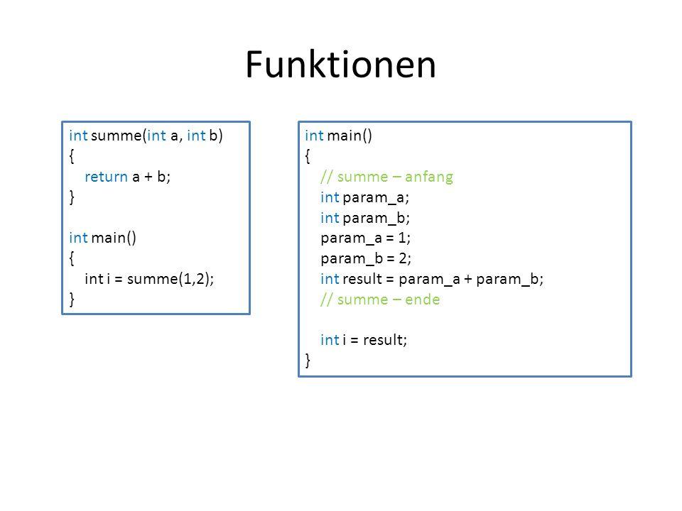 Funktionen int summe(int a, int b) { return a + b; } int main()