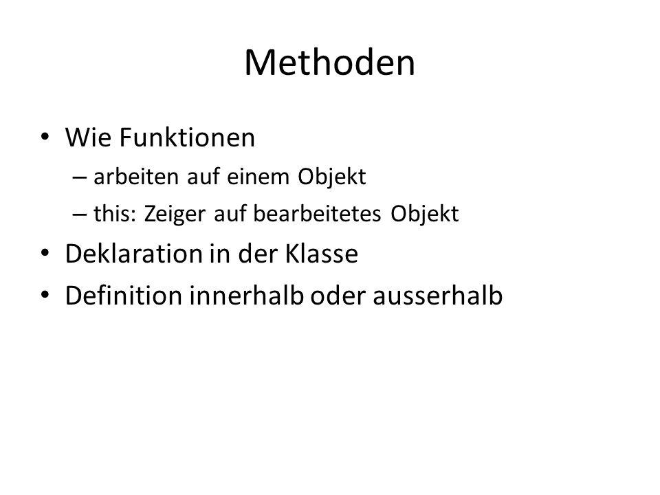 Methoden Wie Funktionen Deklaration in der Klasse