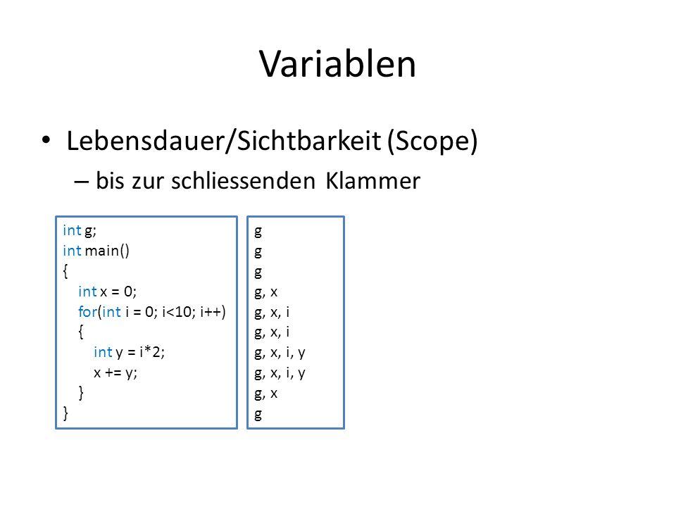Variablen Lebensdauer/Sichtbarkeit (Scope)