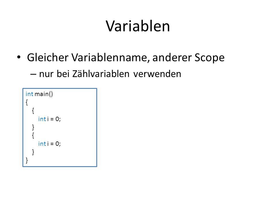 Variablen Gleicher Variablenname, anderer Scope