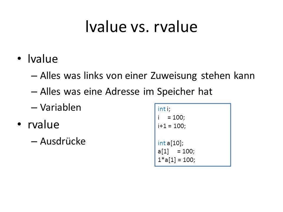 lvalue vs. rvalue lvalue rvalue