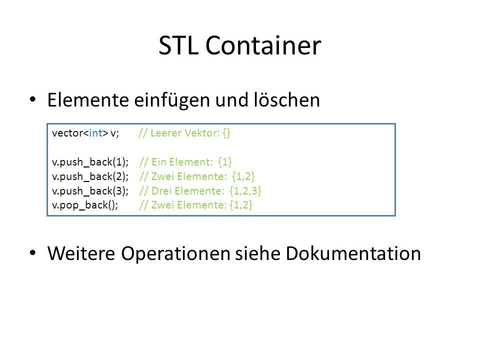 STL Container Elemente einfügen und löschen