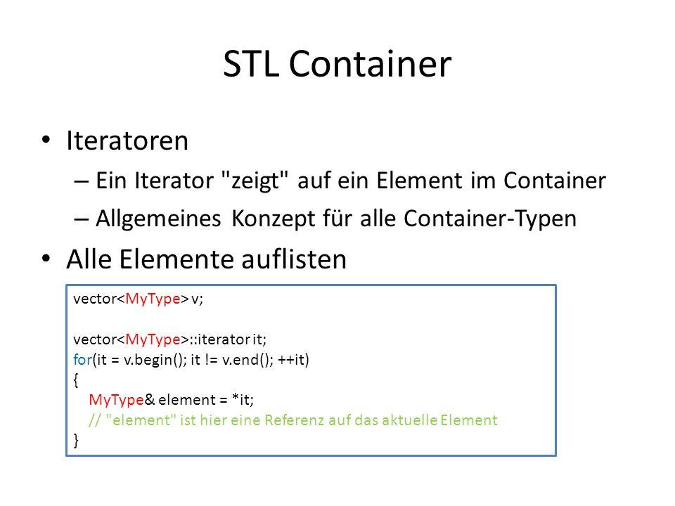STL Container Iteratoren Alle Elemente auflisten