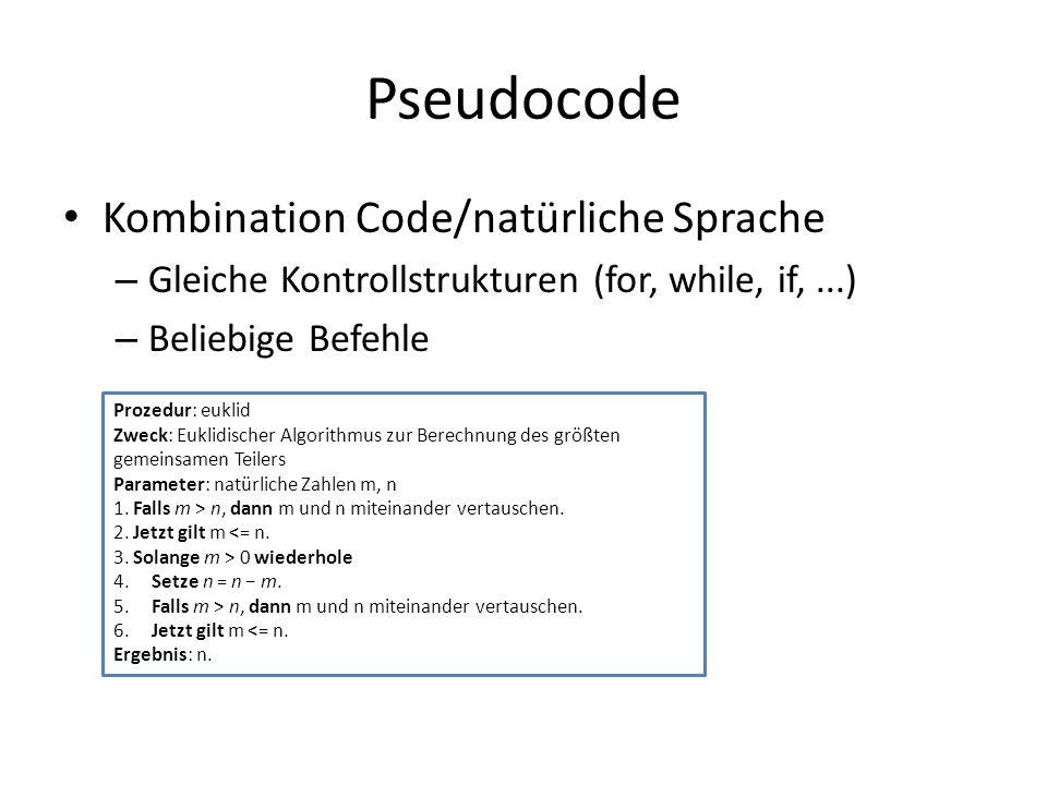 Pseudocode Kombination Code/natürliche Sprache