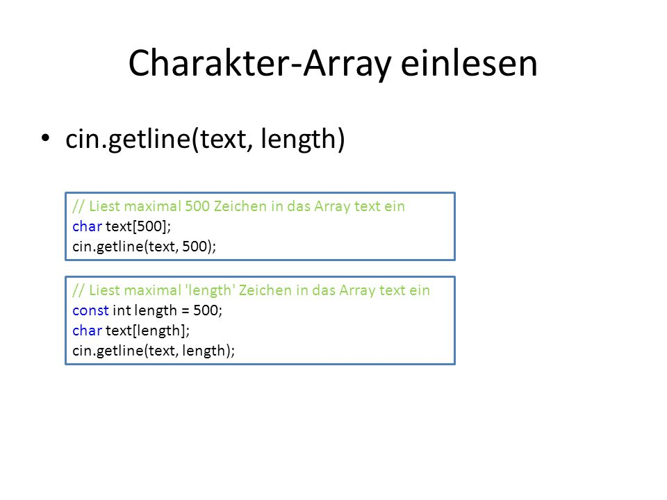 Charakter-Array einlesen
