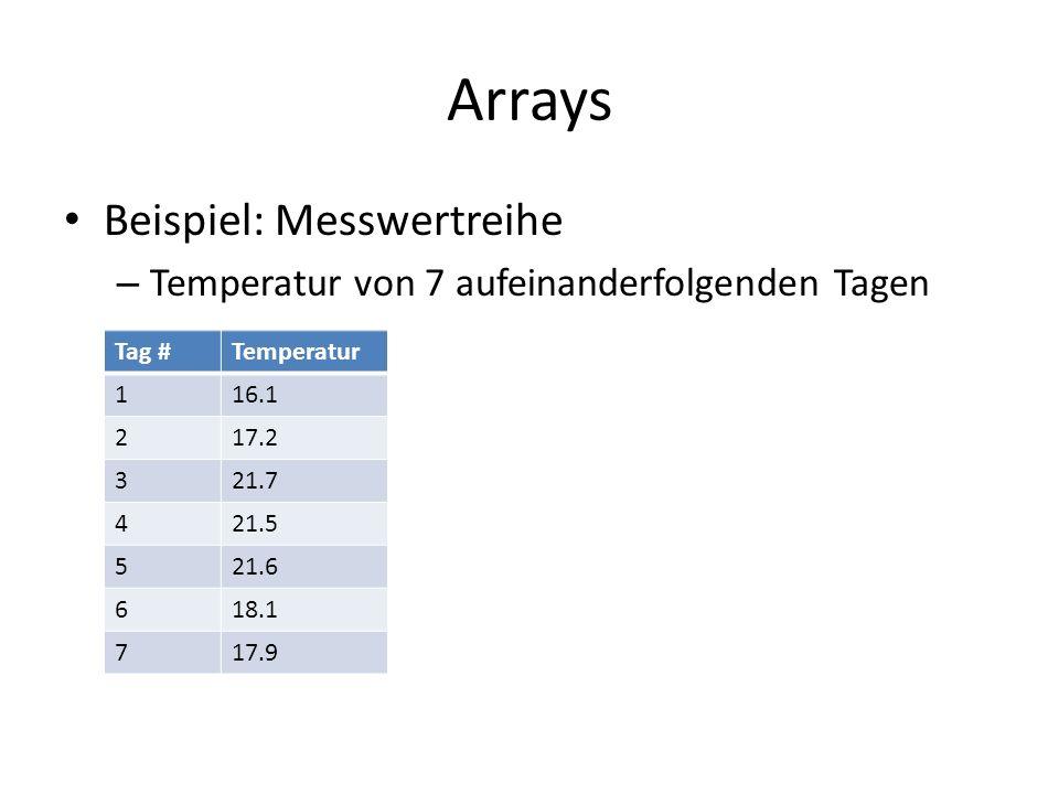 Arrays Beispiel: Messwertreihe