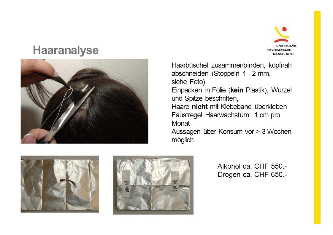Haaranalyse Haarbüschel zusammenbinden, kopfnah abschneiden (Stoppeln 1 - 2 mm, siehe Foto)
