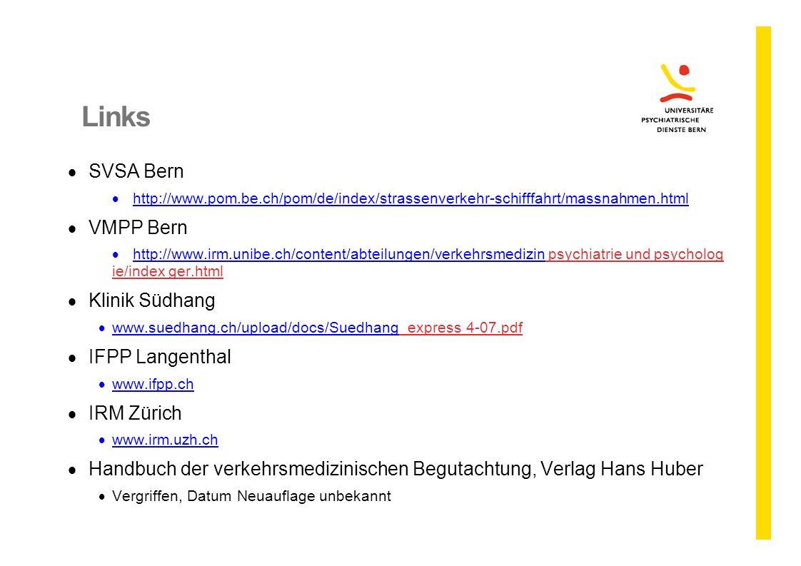Links SVSA Bern VMPP Bern Klinik Südhang IFPP Langenthal IRM Zürich
