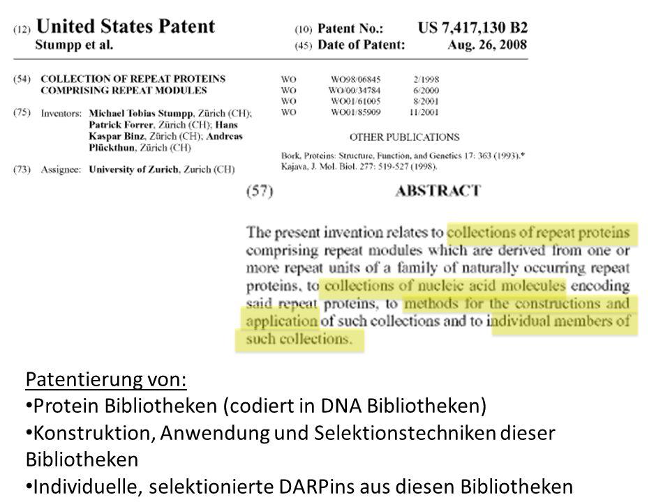 Patentierung von:Protein Bibliotheken (codiert in DNA Bibliotheken) Konstruktion, Anwendung und Selektionstechniken dieser Bibliotheken.