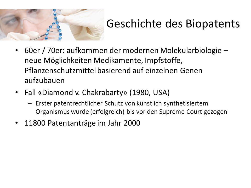 Geschichte des Biopatents