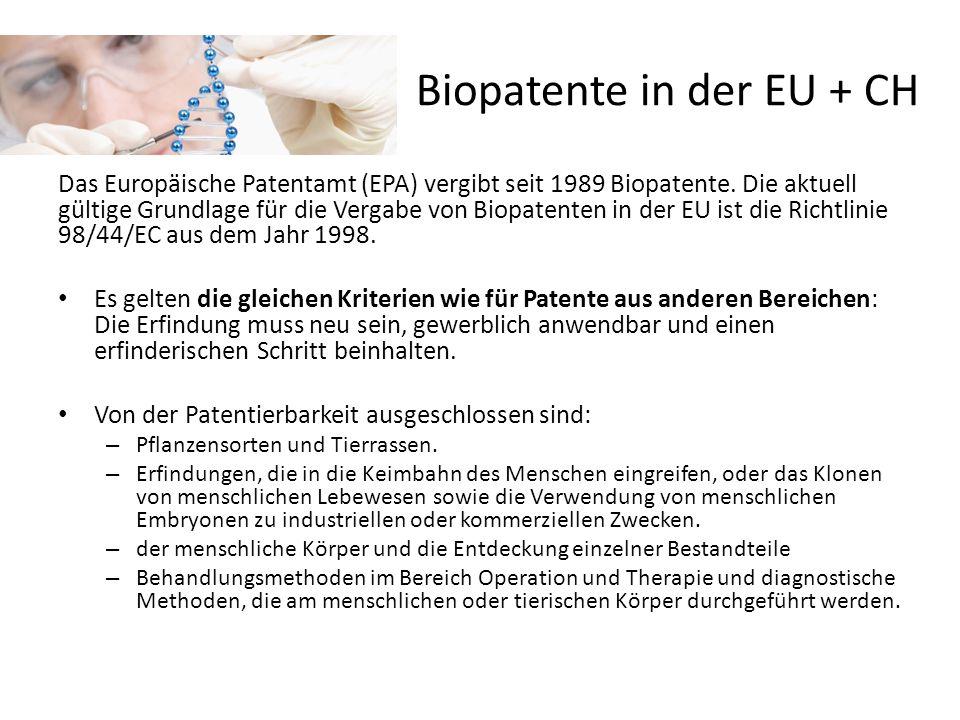 Biopatente in der EU + CH