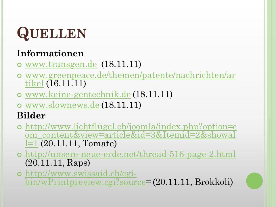 Quellen Informationen www.transgen.de (18.11.11)