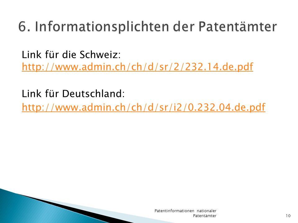 6. Informationsplichten der Patentämter