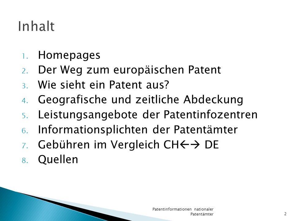 Inhalt Homepages Der Weg zum europäischen Patent