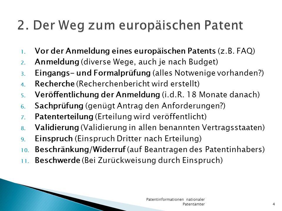 2. Der Weg zum europäischen Patent