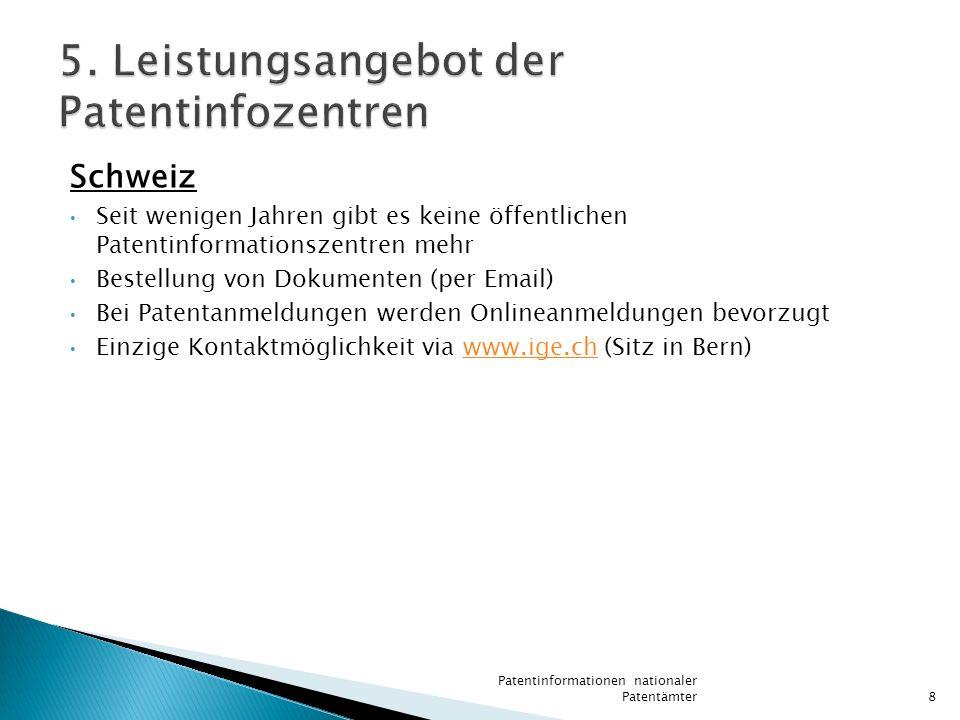 5. Leistungsangebot der Patentinfozentren